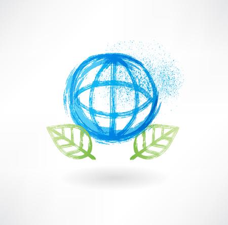 Globe and leafs grunge icon photo