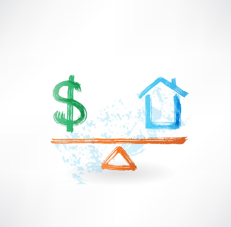 scale icon: money house balance grunge icon Stock Photo