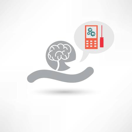 reason: brain and cellphone icon Stock Photo
