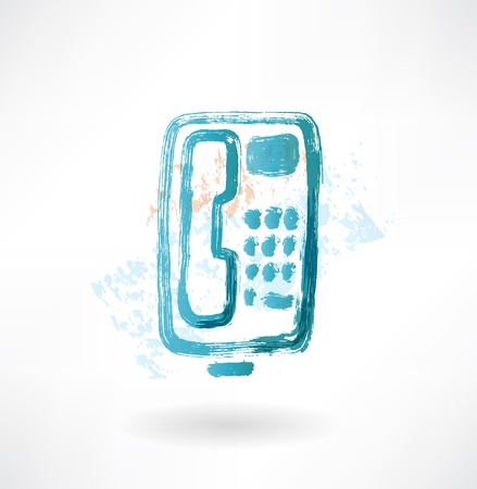 telephone with buttons grunge icon. Stock Photo
