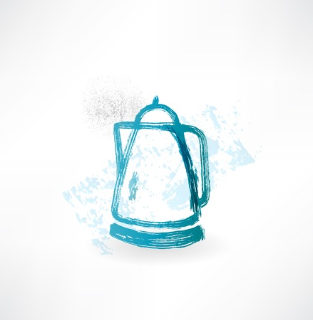 electric kettle: electric kettle grunge icon.