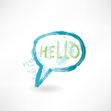 Bubble speech with word hello. Brush icon. photo