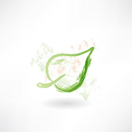 one leaf grunge icon.