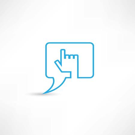 Hand speech bubble icon photo