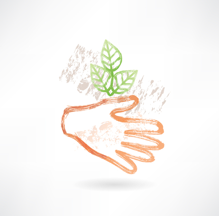 Plant and hand grunge icon photo
