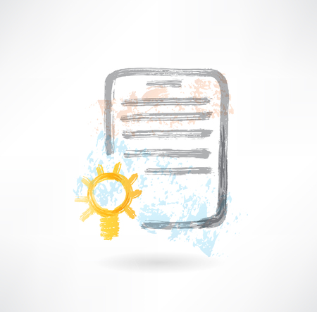 Document with lamp grunge icon. Stock Photo