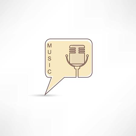 Microphone into brown speech bubble photo