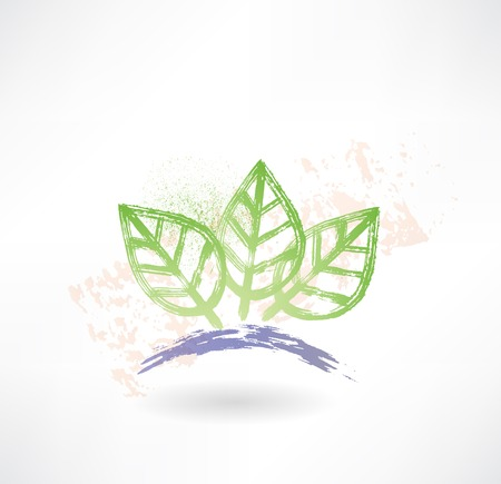 Brush icon with three green leafs. Ecology.