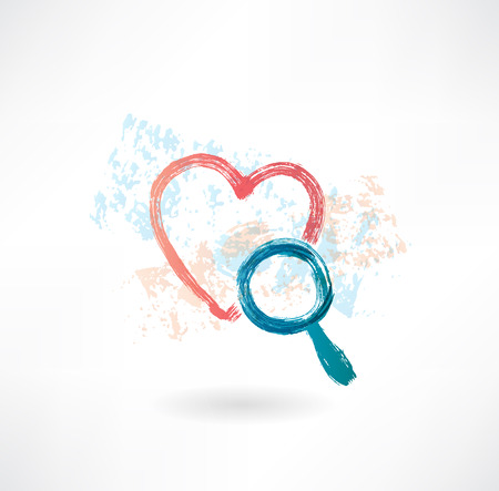 heart magnifier grunge icon photo