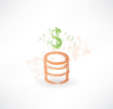 lucrative: Brush money icon with dollar and coins.