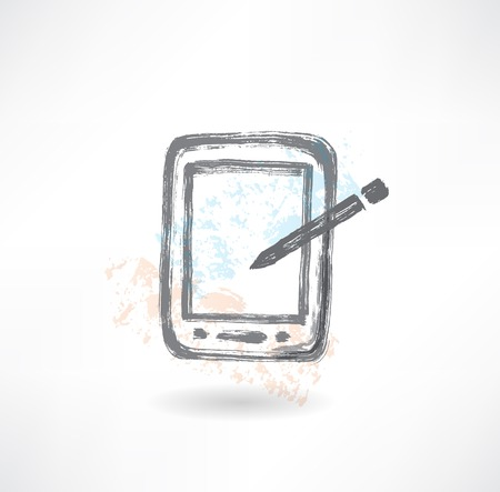 electronic organiser grunge icon. Stock Photo