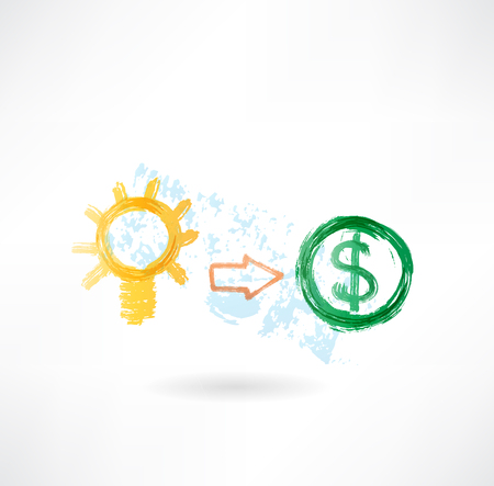 pensador: Lámpara y dólar icono grunge