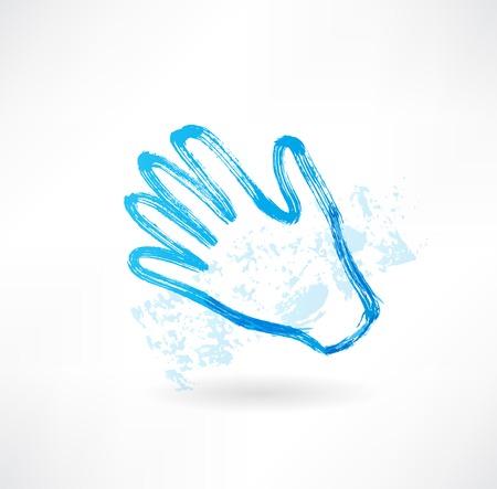 hand touch: Blue hand grunge icon