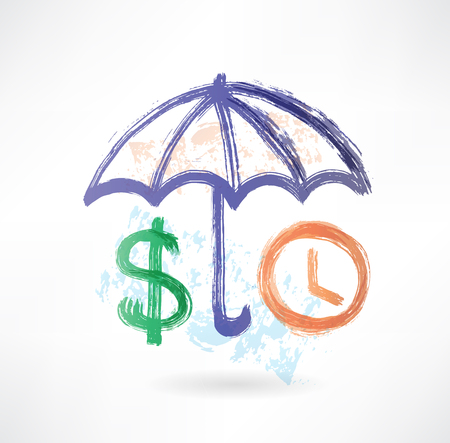 safe investment: umbrella dollar and clock grunge icon