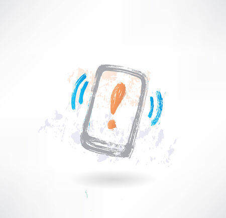 cellphone icon: Ringing cellphone with an exclamation mark on display. Brush icon.