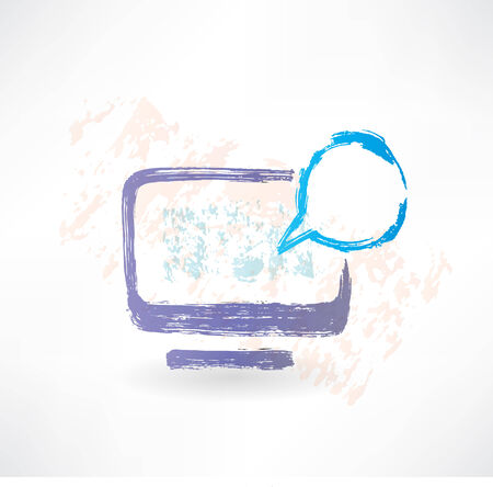 Talking monitor with bubble screen. Brush icon. photo