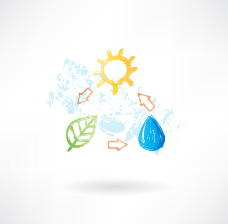oxygen transport: Water cycle grunge icon Stock Photo