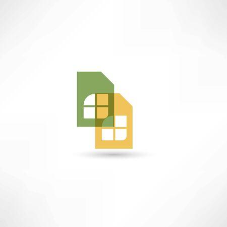 sim card: Two sim cards icon