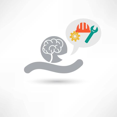 reason: Brain and tools icon Stock Photo
