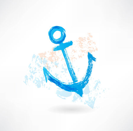 ship anchor: Blue anchor grunge icon