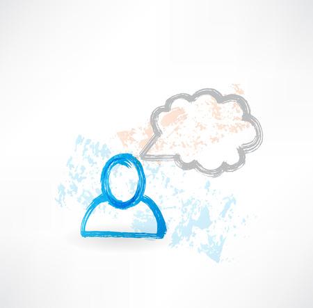 medicate: Talking person grunge icon Stock Photo