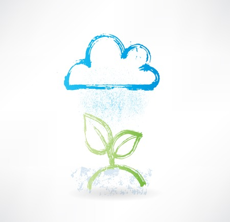 haze: Brush icon with image of rainy cloud and green plant. Weather Stock Photo