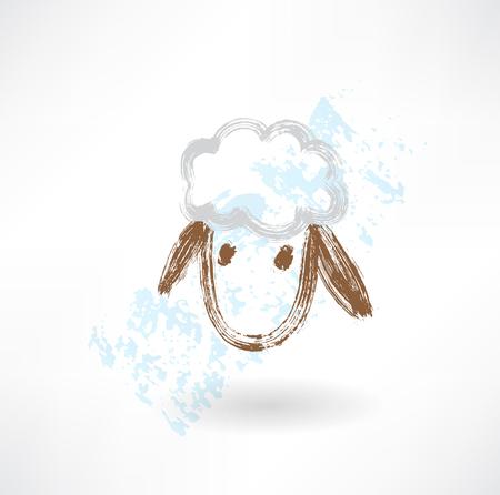 head of sheep grunge icon Illustration