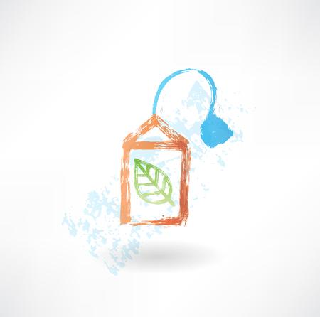 teabag: Green teabag grunge icon Illustration