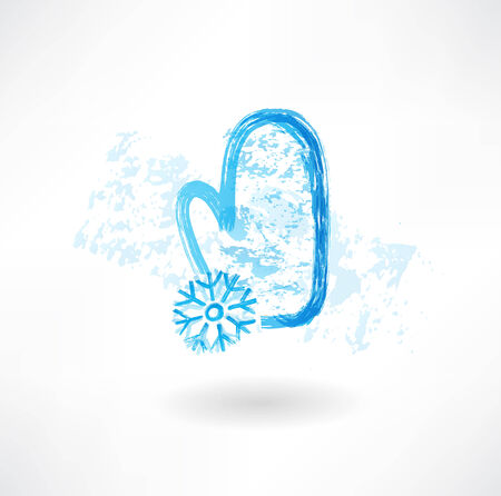 mitten and snowflake grunge icon Illustration