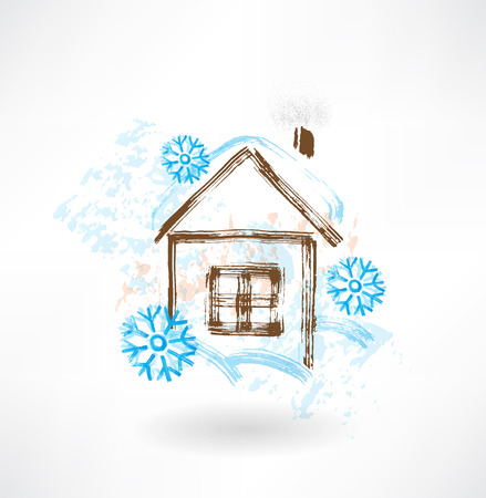 House in snowflakes grunge icon