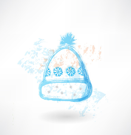 Winter hat with snowflakes grunge icon Vector