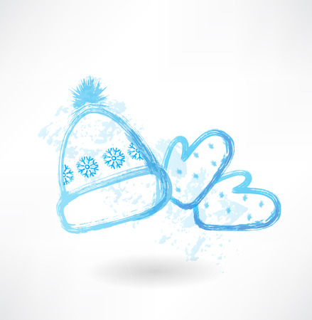 Winter hat and mittens grunge icon Vector