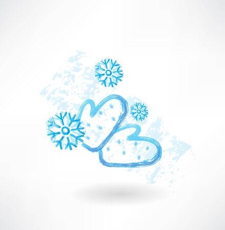 Winter mittens grunge icon Illusztráció