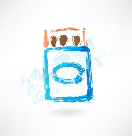 caja de cerillas: icono de la caja de cerillas del grunge Vectores