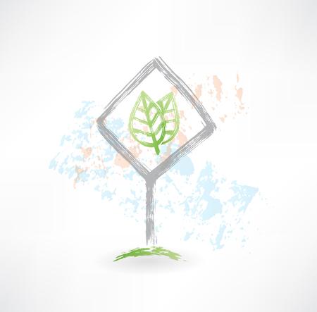 Plate leaf grunge icon