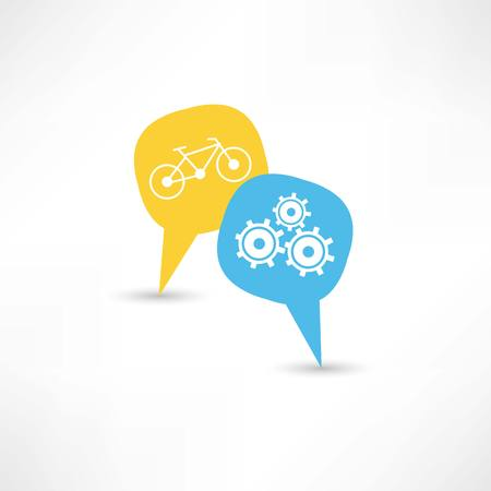 repair a bicycle in a bubble speech Illustration