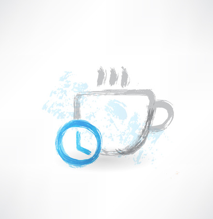 coffee hour: Time to drink coffee grunge icon Illustration