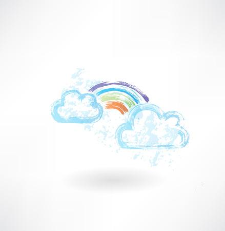 rainbow: Rainbow grunge icon Illustration