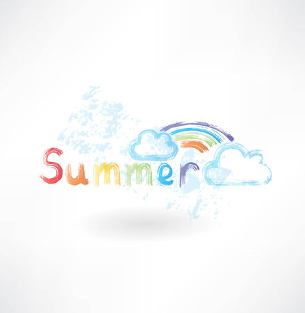 Summer rainbow grunge icon Vector