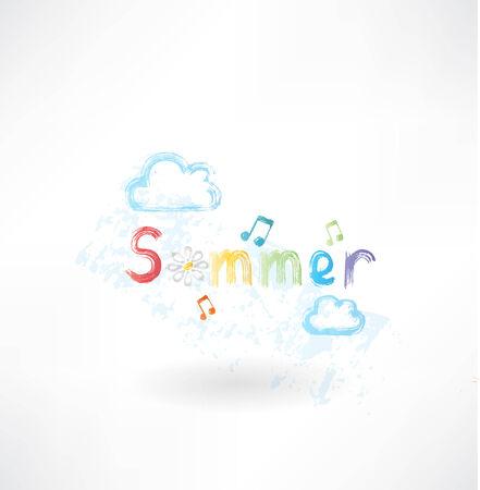 Summer music grunge icon Illustration