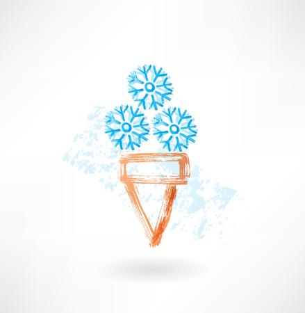 Cold ice-cream grunge icon