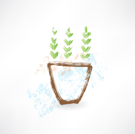 potting soil: potted plant grunge icon Illustration