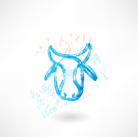 Cows head grunge icon Vector