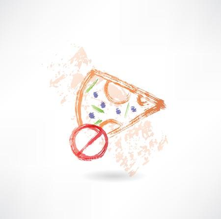 ピザ グランジ アイコンの禁止スライス  イラスト・ベクター素材