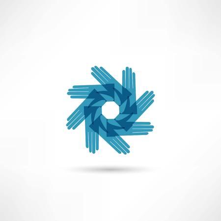 Blue circle hands Vector