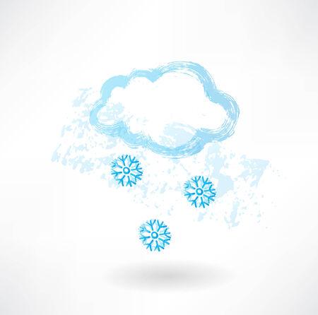 kârlı: Snowy grunge icon Çizim