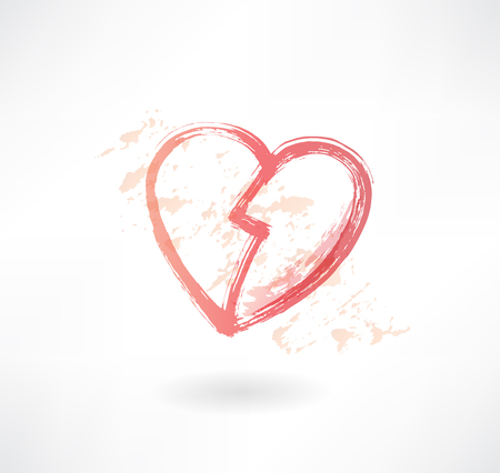 halves of the heart grunge icon Vector