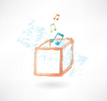 boite a musique: bo�te � musique grunge ic�ne Illustration
