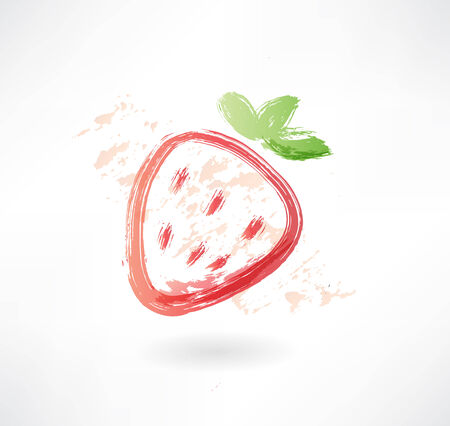 strawberry grunge icon Vector