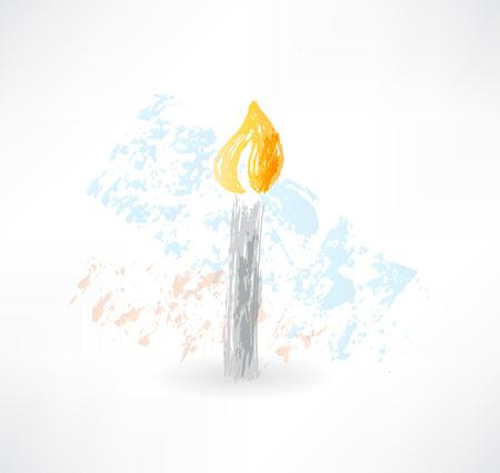 hope symbol of light: candle grunge icon Illustration